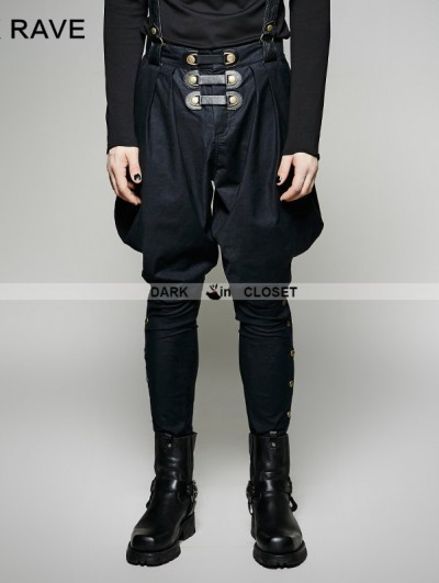 Punk Rave Navy Blue Gothic Military Uniform Men's Pantsloak