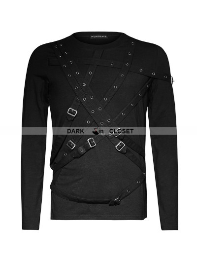 Punk Rave Black Gothic Cross Blets T-Shirts for Men