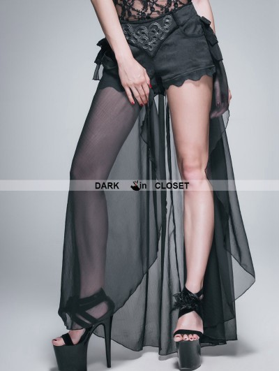 Devil Fashion Black Gothic Shorts with Long Back Skirt for Women