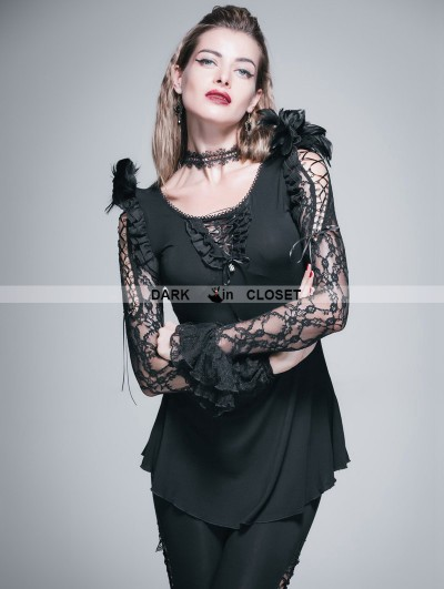 Devil Fashion Black Gothic Long Shirt with Feather for Women
