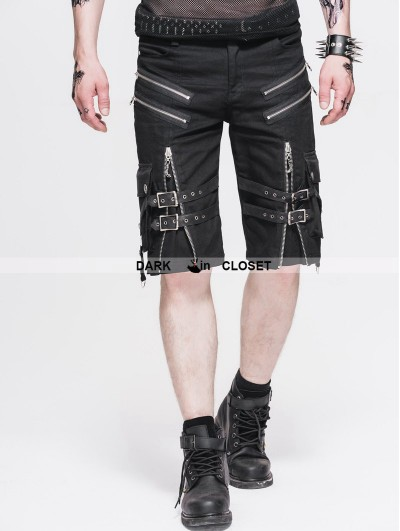 Devil Fashion Black Belt Zipper Gothic Punk Short Pants for Men