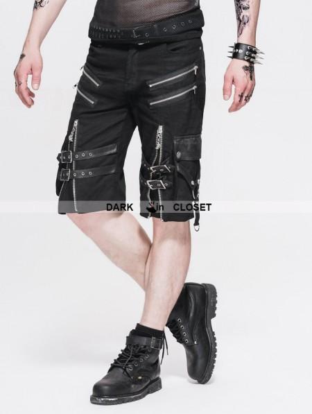 Devil Fashion Black Belt Zipper Gothic Punk Short Pants
