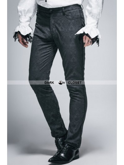 Devil Fashion Vintage Black Gothic Jacquard Pants for Men