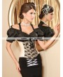 Cream and Black Lace Fashion Underbust Corset