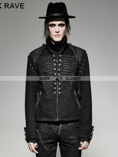 Punk Rave Black Gothic Military Uniform Short Coat with Removable Sleeves for Men