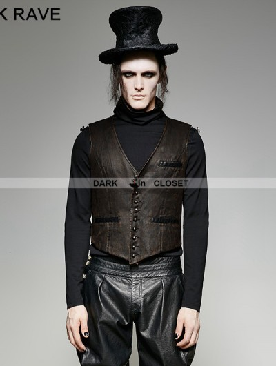 Punk Rave Brown Vintage PU Steampunk Waistcoat for Men