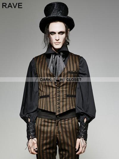 Punk Rave Brown Stripe Vintage PU Steampunk Waistcoat for Men
