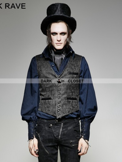 Punk Rave Grey Vintage PU Steampunk Waistcoat for Men