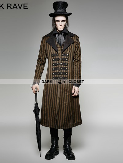 Punk Rave Brown Stripe Steampunk Industrial Revolution Style Jacket for Men