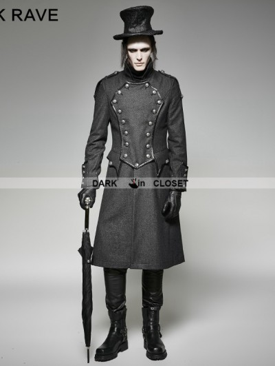 Punk Rave Gothic Military Uniform Long Coat for Men