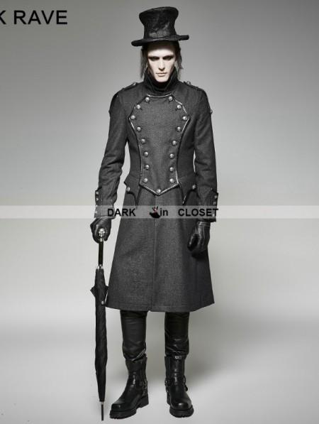 Punk Rave Gothic Military Uniform Long Coat For Men