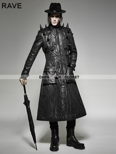 Punk Rave Black Gothic Heavy Punk Long Leather Coat for Men
