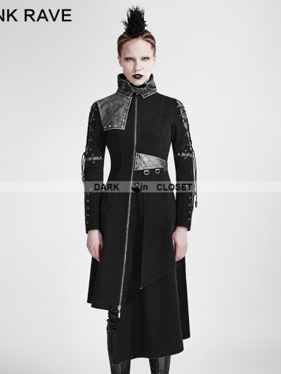 Punk Rave Black Gothic Punk Asymmetric Hem Jacket for Women