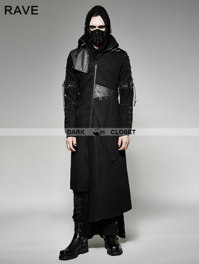 Punk Rave Black Gothic Punk Asymmetric Hem Jacket for Men
