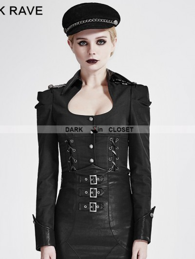 Punk Rave Black Gothic Military Uniform Shirts for Women