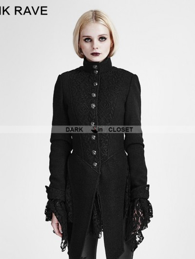 Punk Rave Black Woolen Lace Stitching Gothic Coat for Women
