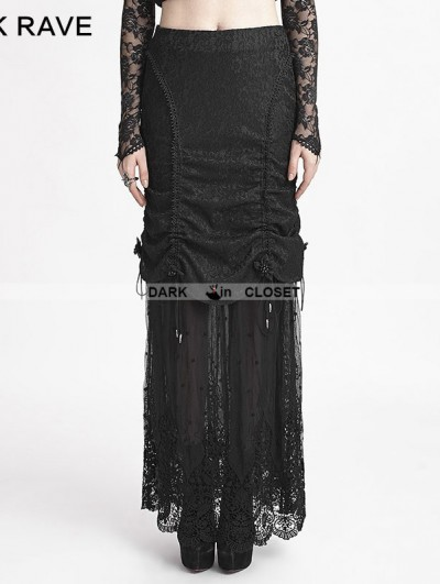 Punk Rave Romantic Black Gothic Composite Lace Skirt