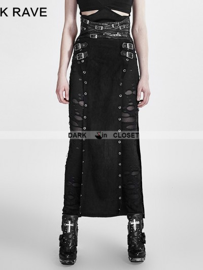 Punk Rave Black Gothic Punk Split Skirt for Women