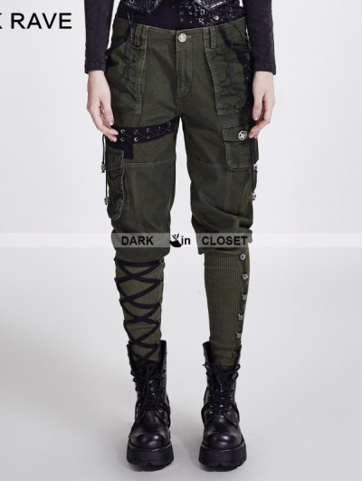 Punk Rave Green Gothic Workwear Multi Pocket Pants for Women