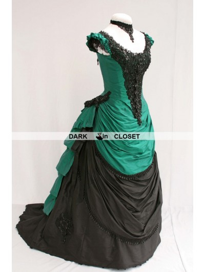 Green and Black Beading Victorian Bustle Dress