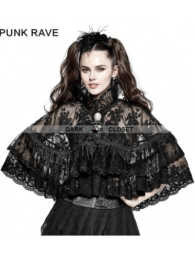 Punk Rave Black Gothic Lolita Lace Double Layer Cloak