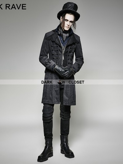 Punk Rave Gothic Decadent Noble Long Coat for Men