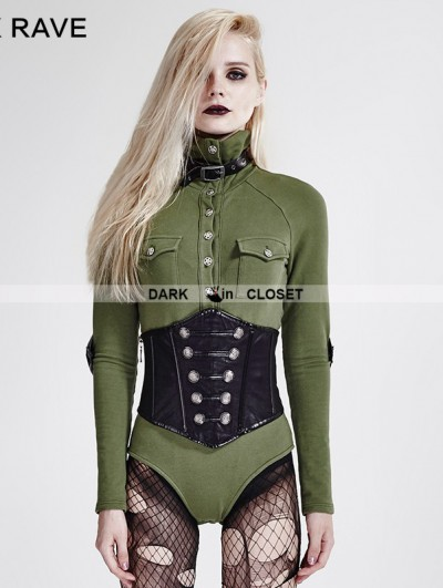 Punk Rave Green Gothic Siamese Military Uniform T-Shirt for Women