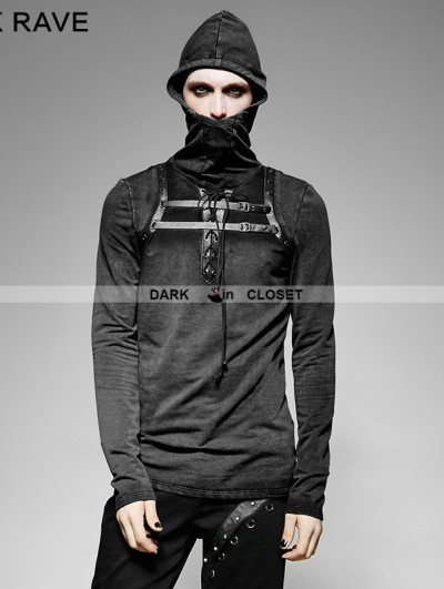 Punk Rave Black Steampunk Leather Loop Hooded T-Shirt for Men