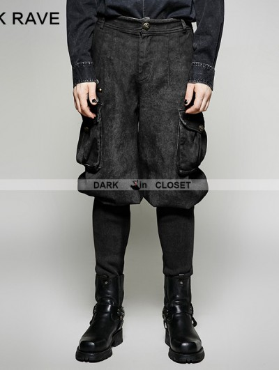 Punk Rave Black Gothic Steampunk Looser Trouser for Men