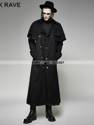 Punk Rave Black Steampunk Long Imitation Suede Coat for Men