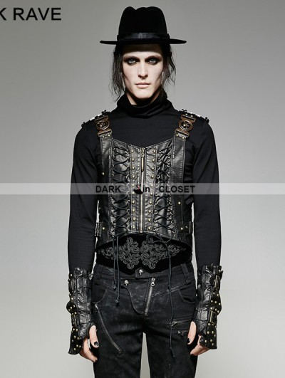 Punk Rave Gothic Bronze Army Uniform Interlocks Stringing Vest for Men