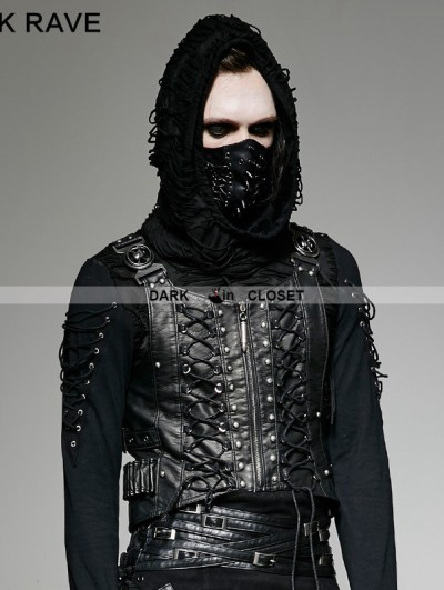 Punk Rave Gothic Sliver Army Uniform Interlocks Stringing Vest for Men