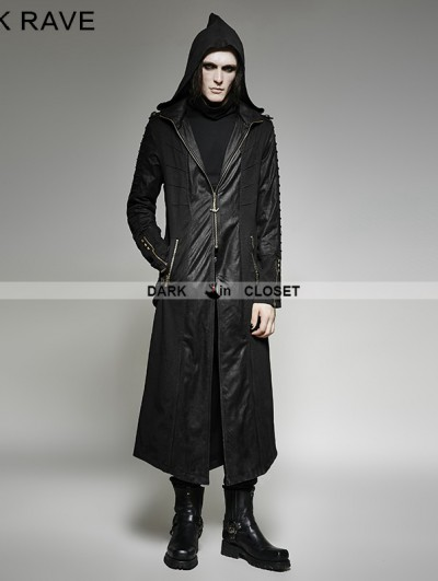 Punk Rave Black Gothic Heavy Punk Long Hooded Coat for Men