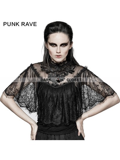 Punk Rave Black Gothic Lace Shrug Shawl T-Shirts for Women