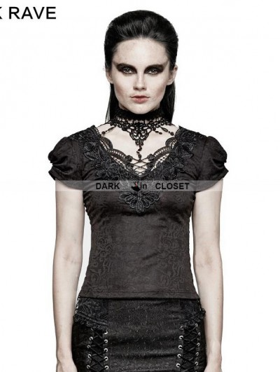 Punk Rave Black Gothic Swallow Tail Short Sleeve T-Shirt for Women