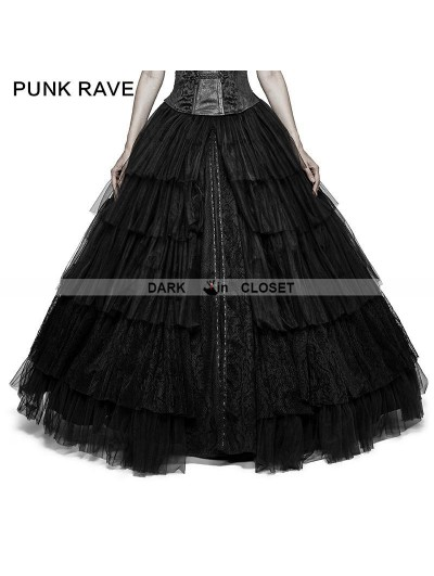 Punk Rave Black Gothic Long Mesh Skirt