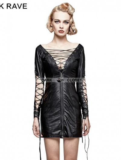 Punk Rave Black Gothic Punk Hollow Out Deep V Sexy Dress