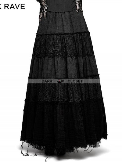 Punk Rave Black Sector Big Swing Gothic Long Skirt