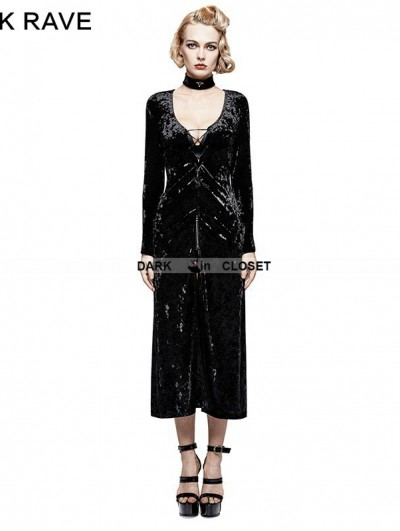 Punk Rave Black Gothic Retro-minimalist Band Imitation Gold Velvet Dress Coat