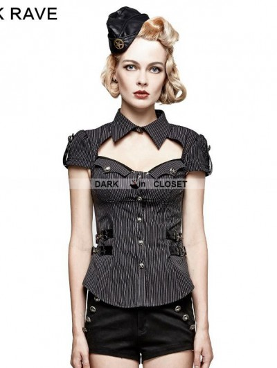 Punk Rave Gothic Military Uniform Short Stripe Shirt for Women