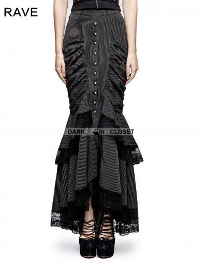 Punk Rave Black Stripe Steampunk Full-Skirted Fishtail Skirt