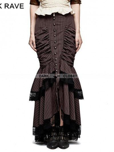 Punk Rave Brown Stripe Steampunk Full-Skirted Fishtail Skirt