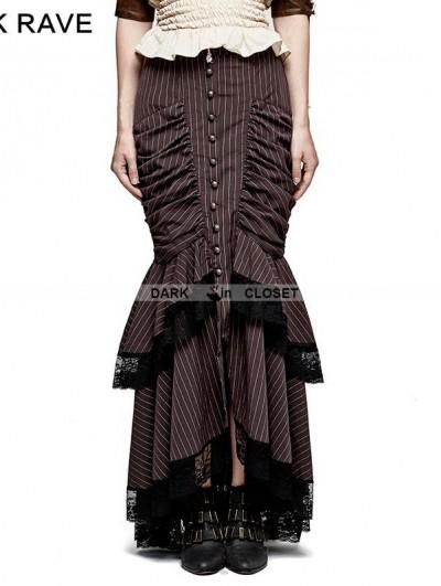 Punk Rave Brown Stripe Steampunk Full-Skirted Fishtail Skirt
