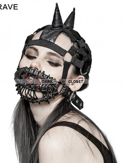 Punk Rave Gothic Punk Beanie Hat with Mask