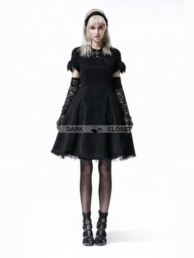 Punk Rave Black Gothic Lolita Short Sleeve Woolen Dress