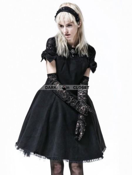 Punk Rave Black Gothic Lolita Short Sleeve Woolen Dress