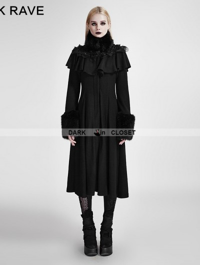 Punk Rave Black Long Shawl Decorated Gothic Lolita Coats