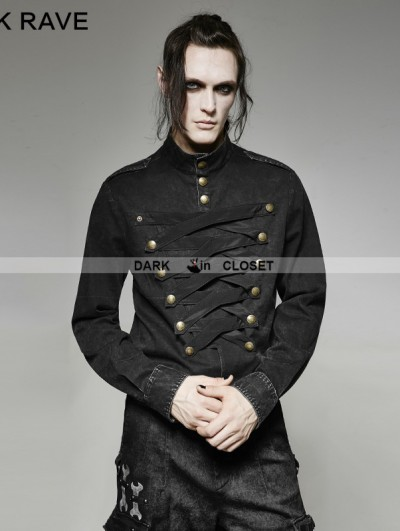 Punk Rave Black Gothic Military Multi-Breasted Shirt for Men