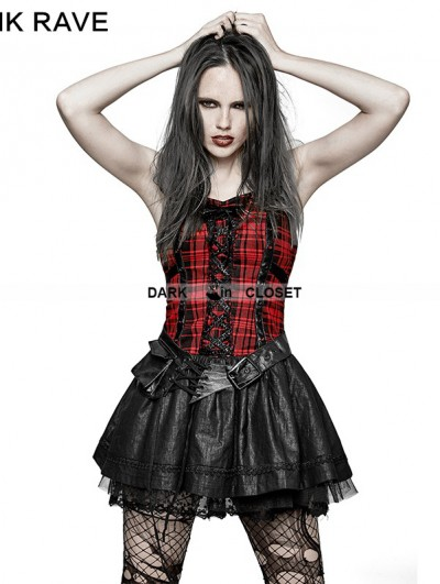 Punk Rave Black Gothic Punk Plaid Dress