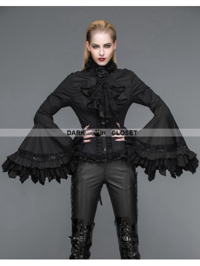 Devil Fashion Black Gothic Palace Style Blouse for Women